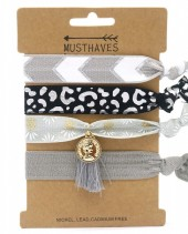S-B7.5 H017-009A Hair Tie Set with Charm 4pcs