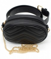 Z-A1.1 BAG212-002 Combination Bum-Shoulder Bag incl Belt 19x12x7cm Black