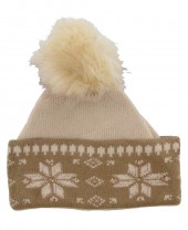 K-A4.1 Beanie with Crystals and Fur Pompon Beige