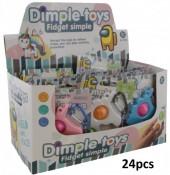 T-E8.2 T2119-015 Dimple Key Chain - Mixed Colors  11x7cm  Box 24pcs