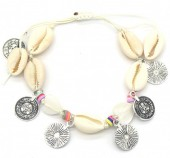 E-C21.1 B536-005 Rope Bracelet Shells and Coins