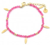 C-D22.2 B220-026S S. Steel Bracelet with Glassbeads Pink-Gold