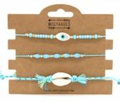C-B15.1  B221-002 Bracelet Set 3pcs Shell and Eye of Fatima Blue