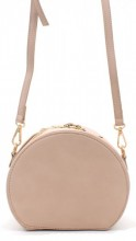Y-B1.5 BAG215-001 Round PU Bag with Large Handle Pink 18x15x9 cm
