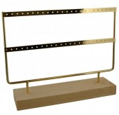 Z-C3.2 PK424-003 Wood with Metal Earring Display 27x22x7cm Chrome Gold