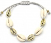 C-B18.1 B2001-032 Bracelet with Shells Gold-Grey
