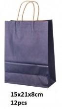 Y-D2.4 Black Paper Bag 15x21x8cm 12pcs