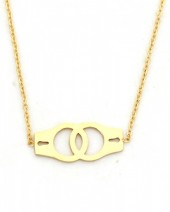 C-D4.4  N016-004 Stainless Steel Necklace Handcuffs Gold