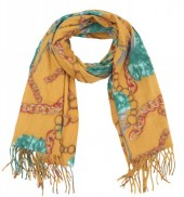 K-D6.2 SCARF405-040C Soft Scarf Chains and Flowers 180x70cm Yellow