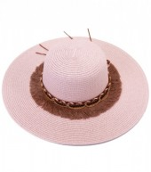 HAT210-007 Ibiza Style Hat with Tassels and Chains Pink