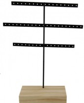 Y-F3.5  Wood with Metal Earring Display 30x23x7cm Light Brown-Black