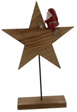 Wooden Star with Santa 26x17x4.5cm