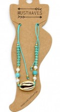 E-B8.2  ANK221-011 Anklet with Beads and Gold Metal Shell Blue
