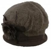 L-D3.2  Woolen Hat with Fake Fur Brown