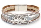 D-A15.2 B104-003 Leather Bracelet with Tree of Life Grey