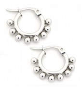 A-D21.1  E1264-004SS Stainless Steel Earrings with Dots 10mm Silver