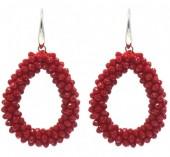 F-B20.2  E007-001M Facet Glass Beads 4.5x3.5cm Red