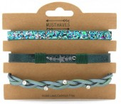 B1202-207 3pcs Pu Bracelet Set with Star and Glitters Green