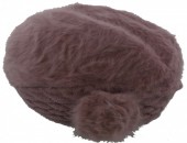 X-D6.2  Soft Fake Fur Hat with Flower Purple