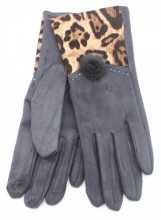 X-I2.2 GLOVE403-003D Gloves with Animal Print Grey