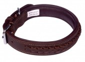 G-C15.2 MTDC-001 Leather Dog Collar Braided Brown L 58x2.5cm