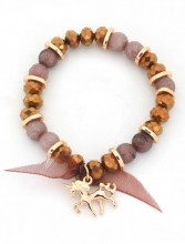 B-C3.2 B130-009 Elastic Bracelet with Glass Beads and Unicorn Copper