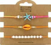 G-A17.5  B2001-054C Bracelet Set 3pcs Starfish-Pearls-Shell Orange