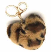 A-F15.2  KY414-001C Fluffy Keychain 10cm Heart Leopard Light Brown