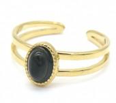 D-C4.5 R2142-018G S. Steel Ring Adjustable Black Agate