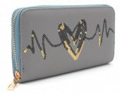Q-L7.1  WA117-004 PU Wallet with Sequins Heartbeat 19x10cm Grey