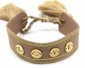 A-A3.3  B2040-004GB Woven Bracelet with S. Steel LOVE Brown-Gold