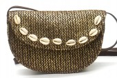 Y-F5.2 BAG541-002C Straw Bag with Shells 20x13.5x5cm Brown-Gold