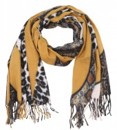 Y-D3.1 SCARF405-031D Soft Scarf Leopard- Snake 180x70cm Yellow