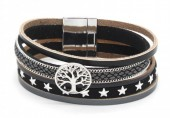 B218-001 Leather Bracelet with Stars and Tree of Life Black
