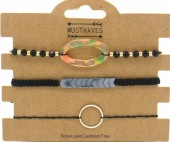G-B5.1 B2001-053A Bracelet Set 3pcs with Multi Colored Resin - Black