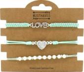 F-E17.2 B2001-056C Bracelet Set 3pcs Love-Heart-Pearls Green