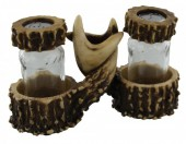 R-O8.1 #50954 Deer Antlers Pepper and Salt with Toothpick holder