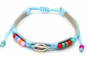 A-F7.4  B221-010 PU Bracelet with Beads and Metal Shell Blue