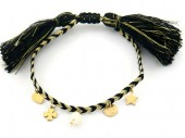 B-E3.1 B220-033G S. Steel Rope Bracelet with Charms and Pearl Black-Gold