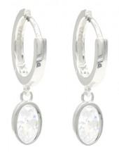 J-D10.1 SE104-560 925S Silver Earrings with Zirconia 10x14mm