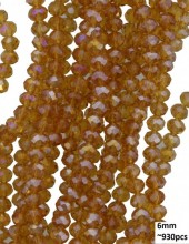 E-A5.2  Faceted Glass Beads 6mm About 930pcs Shiny Brown