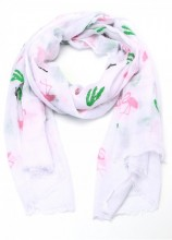 S207-001 Scarf with Cacti and Flamingos 70x180cm White
