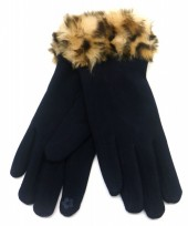 T-H7.1 GLOVE501-004A Gloves with Fake Fur Leopard Blue