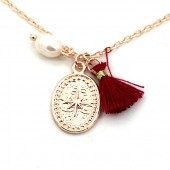 F-E6.2 N532-003R Necklace Northern Star and Tassel Rose  Gold