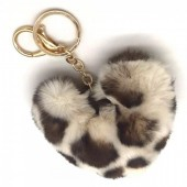 S-C6.2 KY414-001I Fluffy Keychain 10cm Heart Leopard White