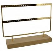 R-B7.1 PK424-003 Wood with Metal Earring Display 27x22x7cm Chrome Gold