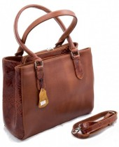 T-H1.2  Luxury Leather Bag 35x26cm Cognac