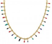 E-C4.2 N519-002 S. Steel Necklace Paintdrops Gold