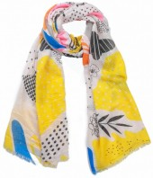 X-M2.2 SCARF510-003C Scarf Leaves and Flowers 180x90cm Yellow