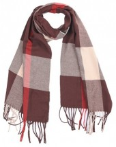 T-M3.1 SCARF406-001C Checkered Scarf with Fringes 170x31cm Brown